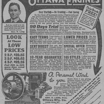 1919 Ottawa Farm Engines Advertisement