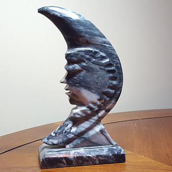 Carved Stone Moon Sculpture - Visual Art