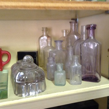 Some old bottles and an inkwell  - Bottles