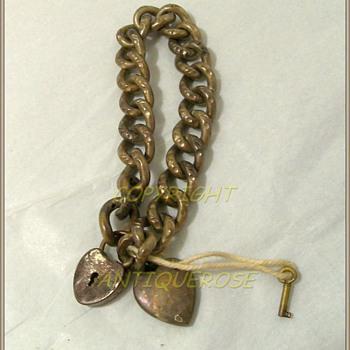 Victorian -- Sterling Silver Bracelet & Key - Sterling Silver