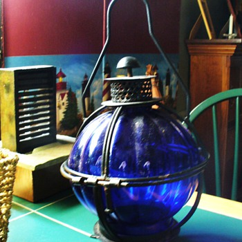 Cobalt Blue and Black Wrought Iron Candle Lantern