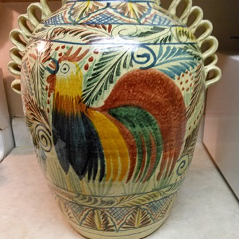 LARGE ROOSTER VASE - Art Pottery