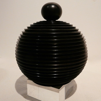 TURNED EBONY (?) BOX AND COVER. - Art Deco
