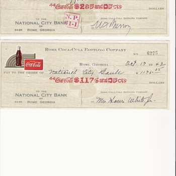 1947 Rome Coca Cola Bottling Company - Checks
