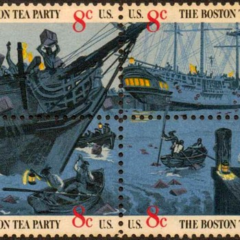 "1973 - ""Boston Tea Party"" Postage Stamps (US) - Stamps"