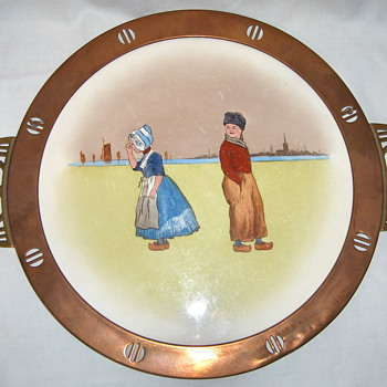 Series of German Serving Trays - #1 WMF Art Nouveau Brass Copper Porcelain - Breweriana