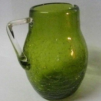 Vintage hand blown Crackle Glass Pitcher, dark lime green, applied handle