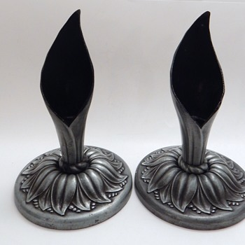 Vintage Pewter Candlesticks - Lamps