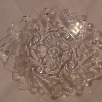 Glass dish with a leaf design