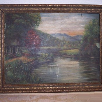 Old landscape oil painting.  Who? What?  