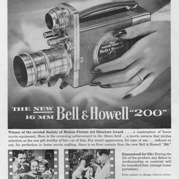 1951 - Bell &amp; Howell Model 200 Movie Camera Advertisement