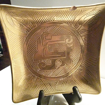Square Gold Plate with Unusual Design, and Signature - Art Pottery
