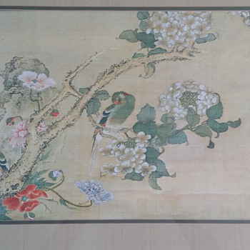 Japanese Painting on Silk Cloth - Asian