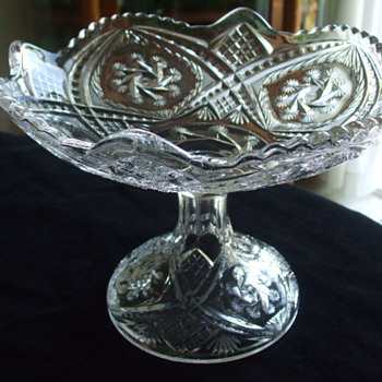 INDIANA GLASS CO. Double Pinwheel OPEN COMPOTE