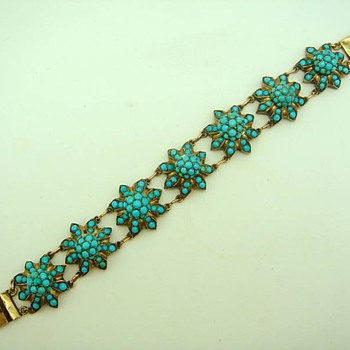 Antique Pave Turquoise and Bracelet