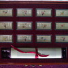 silver ingots Chinese 12 years symbols in case with silk scroll
