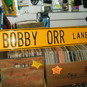 older metal 4 bobby orr lane street sign  (heavy) . - Hockey