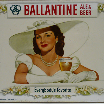 1948 Ballantine Ale and Beer Brunette Beauty Masonite Litho U.S.A.