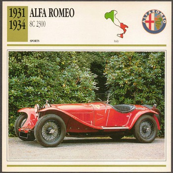 Vintage Car Card - Alfa Romeo 2300
