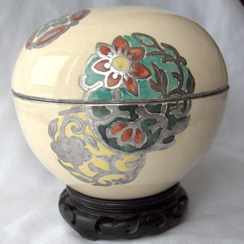 Unusual Satsuma Japan Antique Egg Shape Box Silver Overlay & Enamel