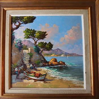 B. Franco Mediterranean Painting 196? - Mid-Century Modern
