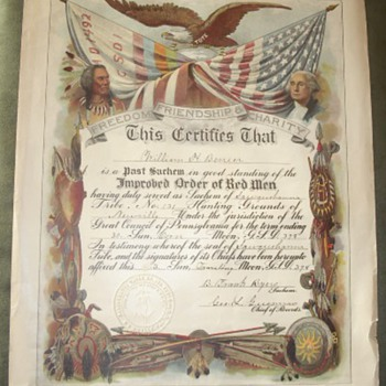 1890 Improved Order of Red Men Certificate - Paper