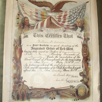 1890 Improved Order of Red Men Certificate