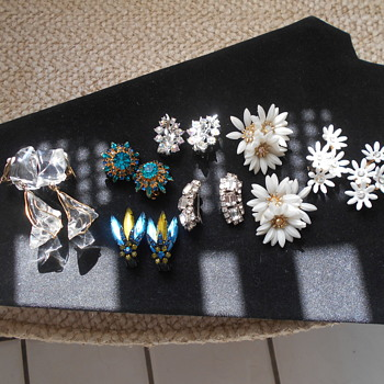 Vintage clip on earring group