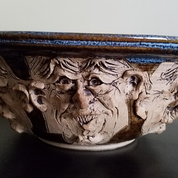 Please Help Identify this Unique Piece (Ceramic Bowl w/ Faces)