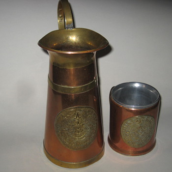 Copper Pitcher, Cup, and Tray
