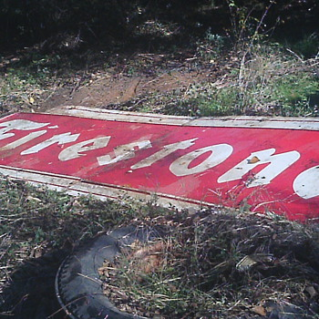 1957 Two piece Firestone sign - Signs