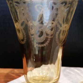 Vintage Footed Citrine Etched  Glasses