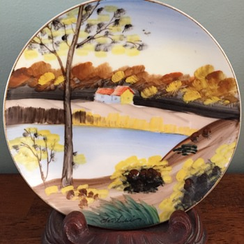 Japanese Handpainted Tree Plate with artist signature - Asian