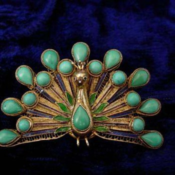 Turquoise and Enamel Peacock - Fine Jewelry