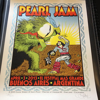 Chuck Sperry/Santi Pozzi poster for Pearl Jam in Argentina