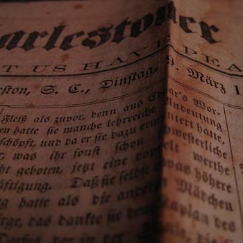 Die Charlestoner Zeitung paper, dated 1869