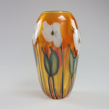 CHARLES LOTTON GOLDEN SUNSET MULTI FLORA VASE - Art Glass