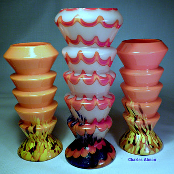 CZECH DECO SPATTER GLASS STEP VASES
