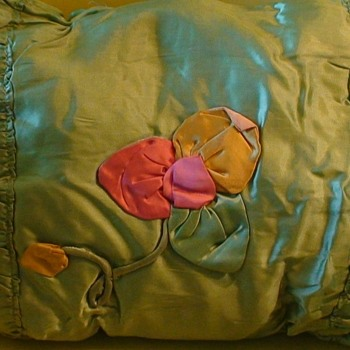 Vintage Silk Pillow (1910-1920) Filled With Kapok Fiber