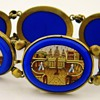 Antique Victorian Micro Mosaic Royal Blue Gilt Panel Bracelet