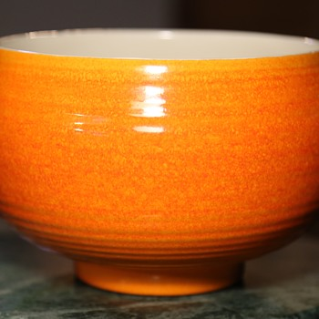Beautiful Orange Mid-century Console Bowl by Haeger