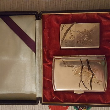 950 Silver Japanese Cigarette Case and Lighter Set (Help please)