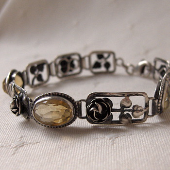 Art Nouveau Germany Silver Floral Link Bracelet With Oval Citrine Stones Signed