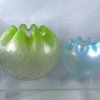 Rindskof Martele Blue & Green Pair Iridescent Bowls  - Art Glass