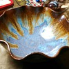 """Pigeon Forge Pottery- drip glaze ruffled bowl """"D.Boling"""""""