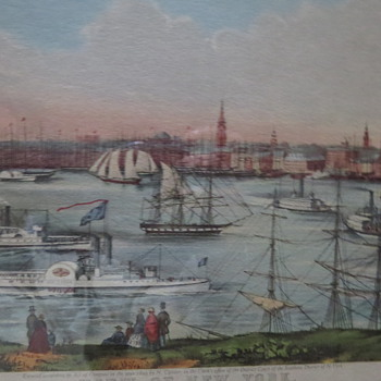 Currier Ives Litho View of New York from Brooklyn Heights - Reprint???