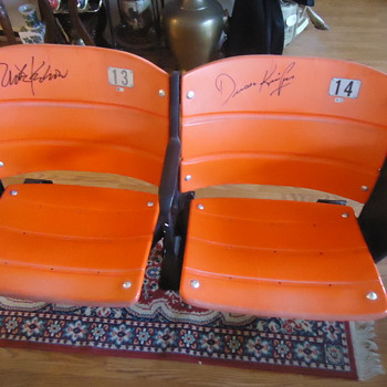 Giants World Champs!! Chairs from Candlestick Park signed by Krukow & Kuiper, Announcers!! - Baseball