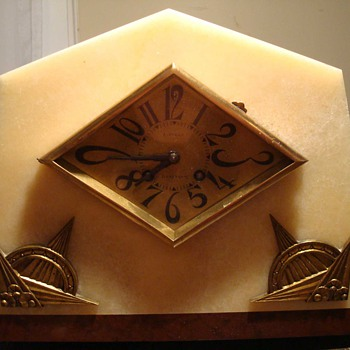 Gorgeous Art Deco Marble Marti Mantle Clock - Clocks