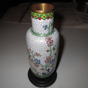 Japanese painted bronze vase