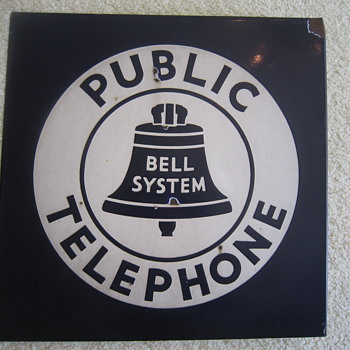 1940's Bell System Public Telephone Double Sided Porcelain Flange Sign Advertisement